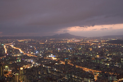 Overlooking view of the Taipei skyline at night - Taipei, Taiwan
