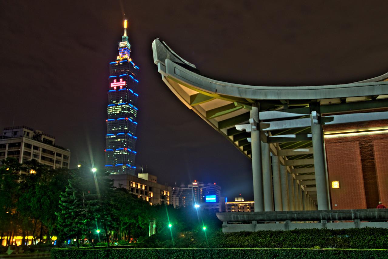 Enhanced photo of the Spire and SYS Memorial - Taipei, Taiwan
