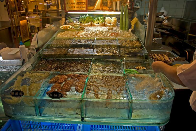 Night market seafood display in Taipei, Taiwan