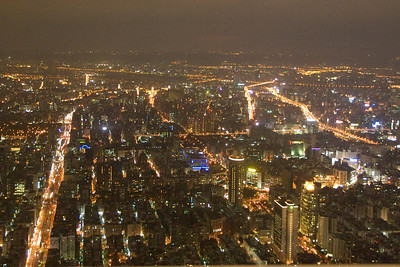Bright city lights at night skyline - Taipei, Taiwan