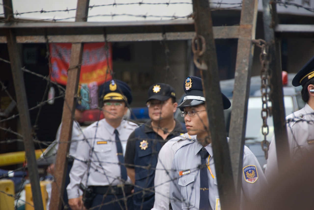 Police behind baracade during National Day Celebration - Taipei, Taiwan