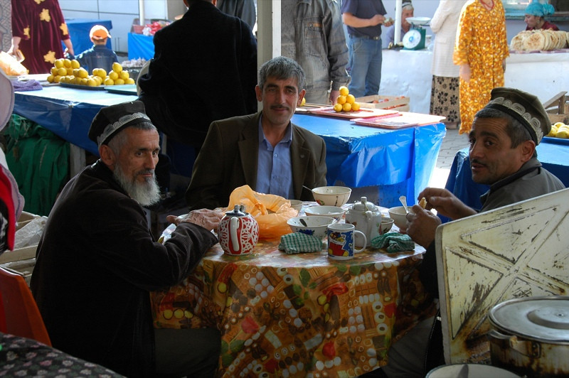 Tajik Men on Lunch Break - Dushanbe, Tajikistan