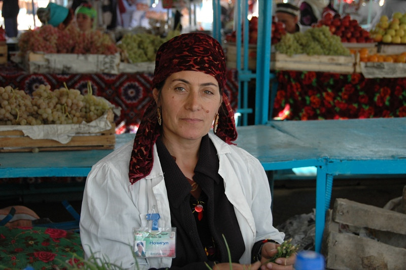 Tajik Woman Vendor at Varzob Bazaar - Dushanbe, Tajikistan