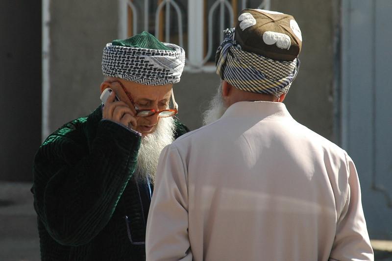 Imam Talking on Cellphone - Dushanbe, Tajikistan