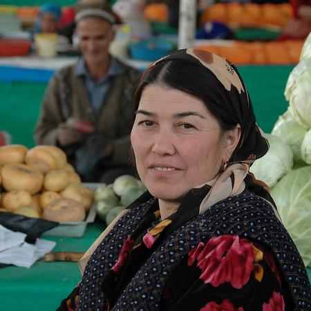 Tajik Woman at Shah Mansur Market - Dushanbe, Tajikistan