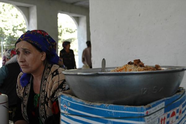 Pamiri Woman Selling Plov - Khorog, Tajikistan