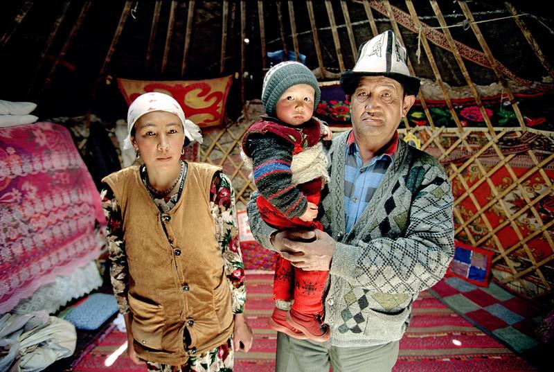Kygyz Family in a yurt in Gorno Badakshan - The Pamirs