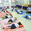 School children taking a nap at lunch time