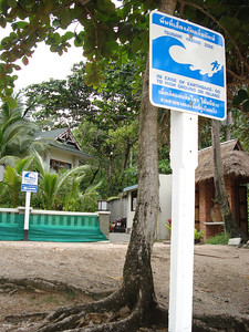 Tsunami warning sign, Ao Nang - Thailand.