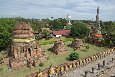 Panoramic shot of Buddha statue row and stupas in Ayutthaya, Thailand