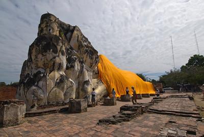 Giant reclining Buddha statue in Ayutthaya, Thailand
