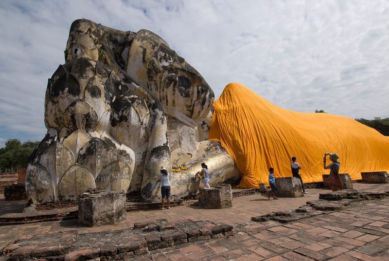 Giant reclining Buddha in a different angle - Ayutthaya, Thailand