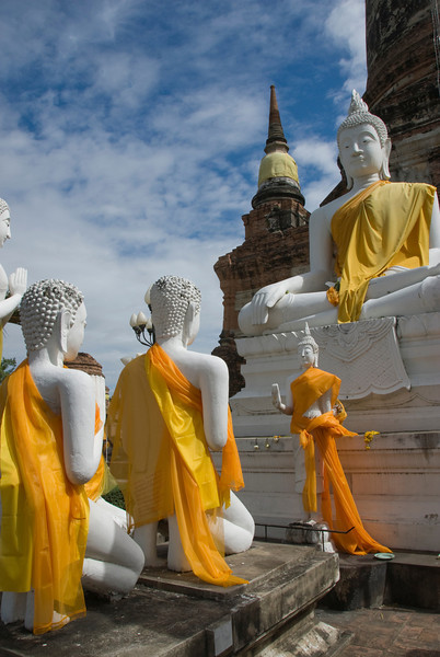 Buddha statues against a clear sky in Ayutthaya, Thailand