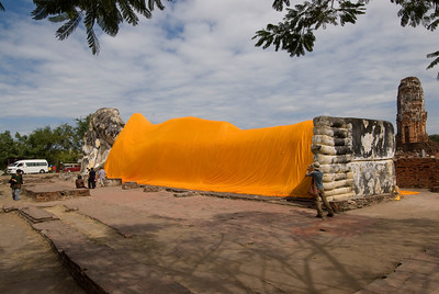 The Giant Reclining Buddha statue in Ayutthaya, Thailand