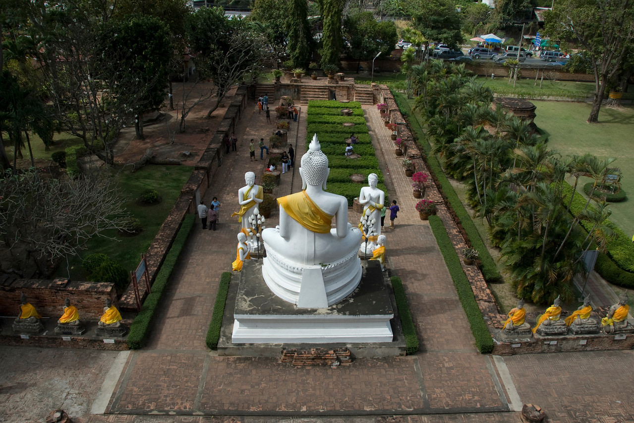 The view from the giant Buddha statue in Ayutthaya, Thailand