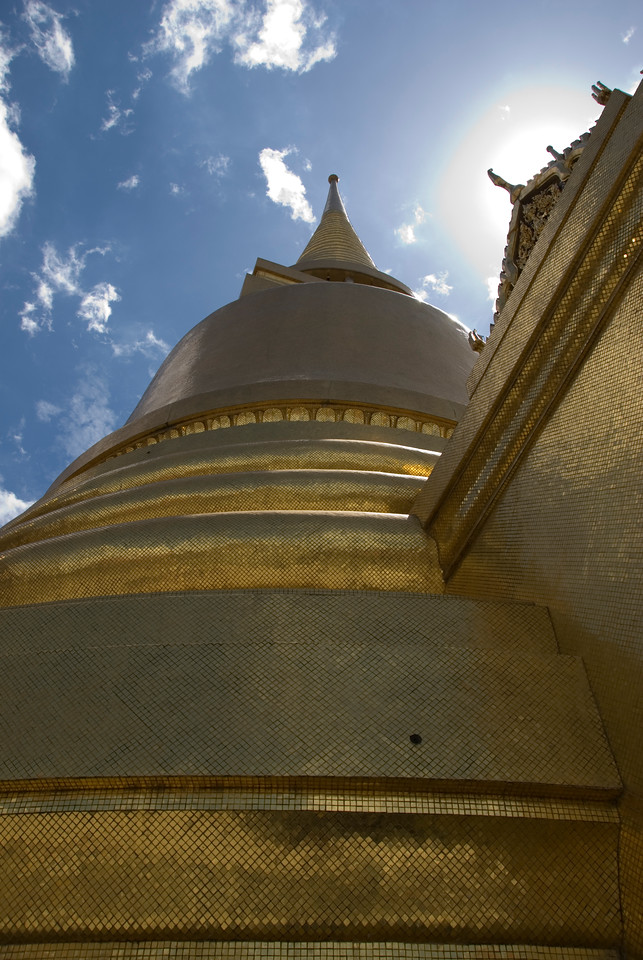 Looking up a tower at Wat Phra Kaew - Bangkok, Thailand