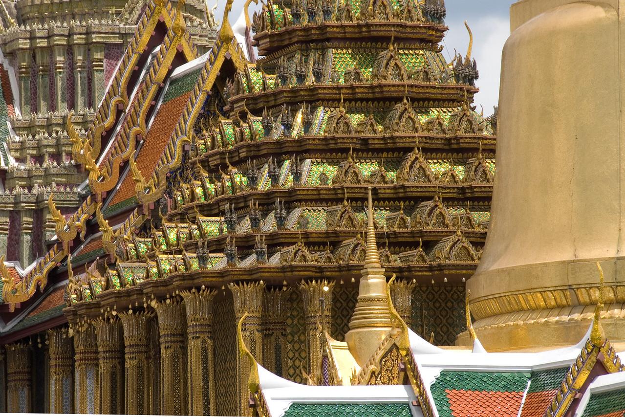 Rooftop details inside Wat Phra Kaew - Bangkok, Thailand