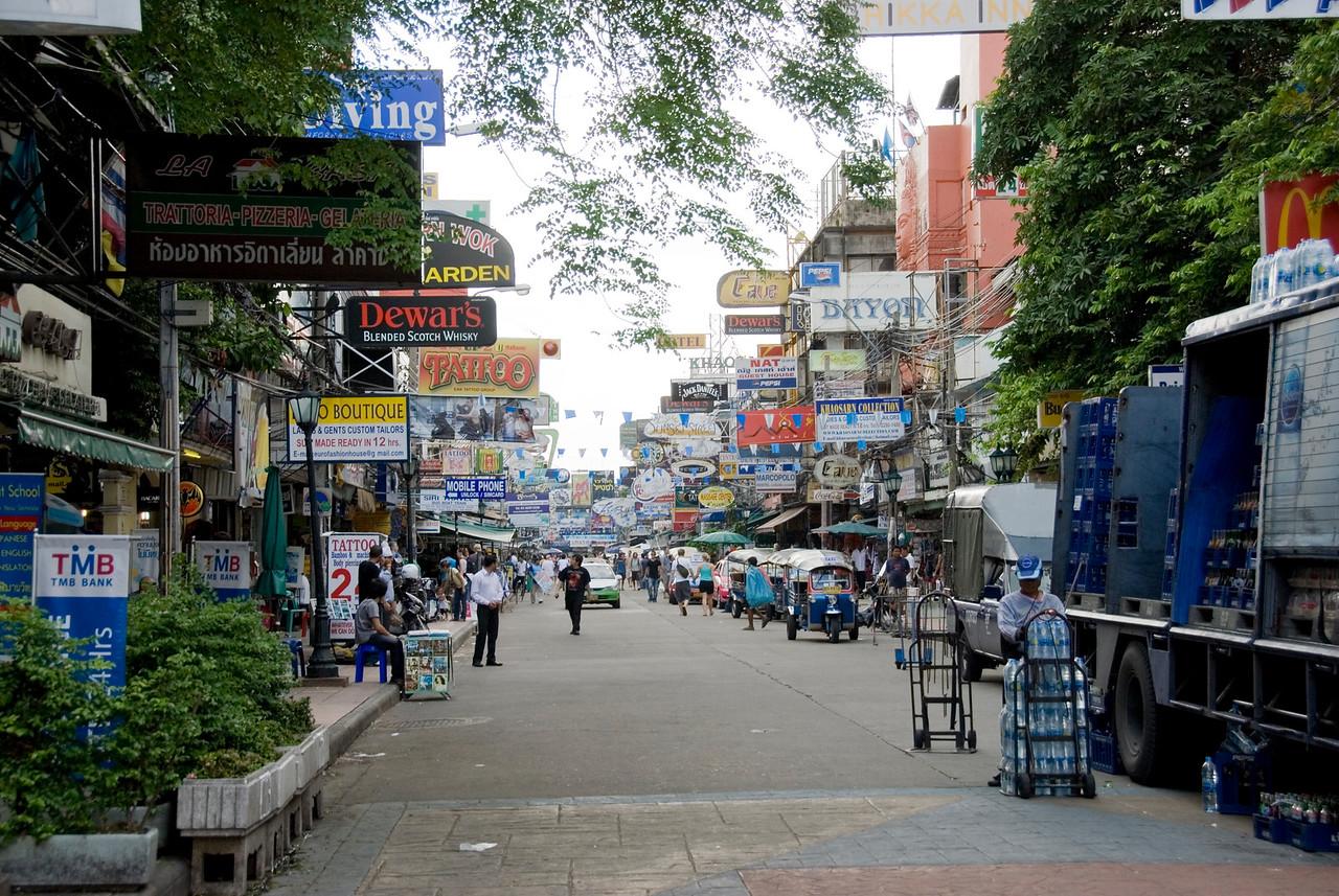 Busy Khao San Road in Bangkok, Thailand
