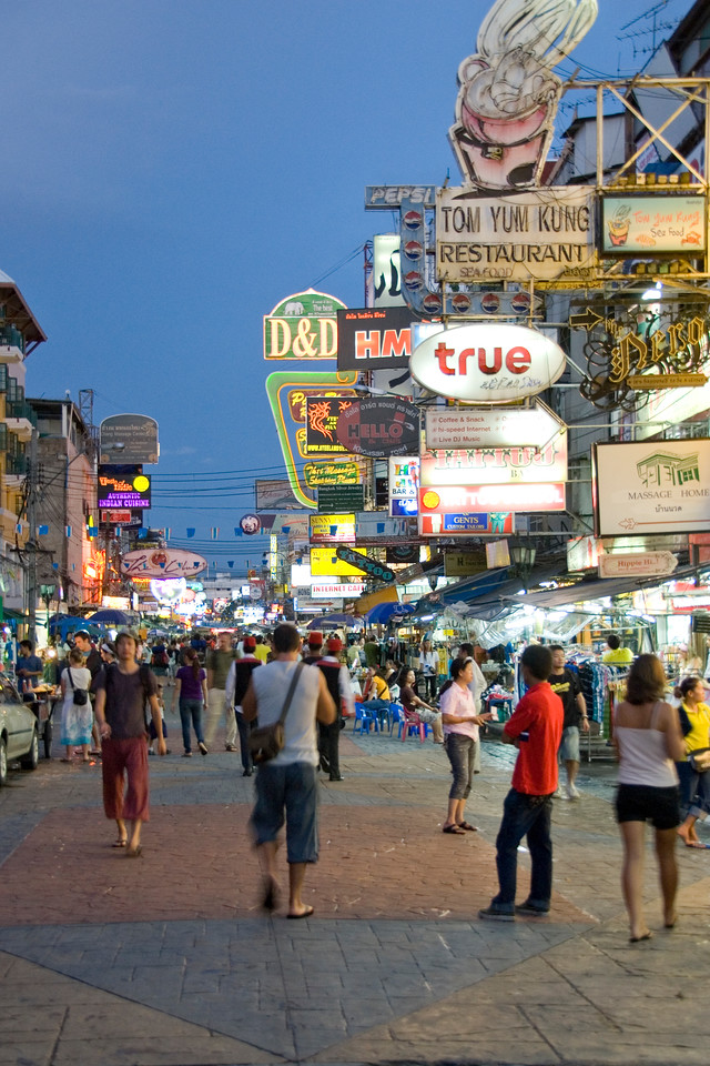 Khao San Road street scene at night in Bangkok, Thailand
