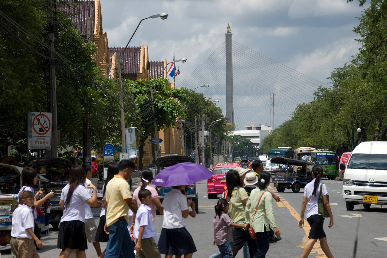 Pedestrian crossing outside Grande Palace - Bangkok, Thailand