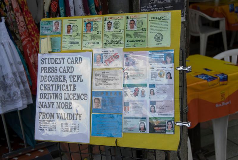 Fake ID Sign spotted at Khao San Road - Bangkok, Thailand