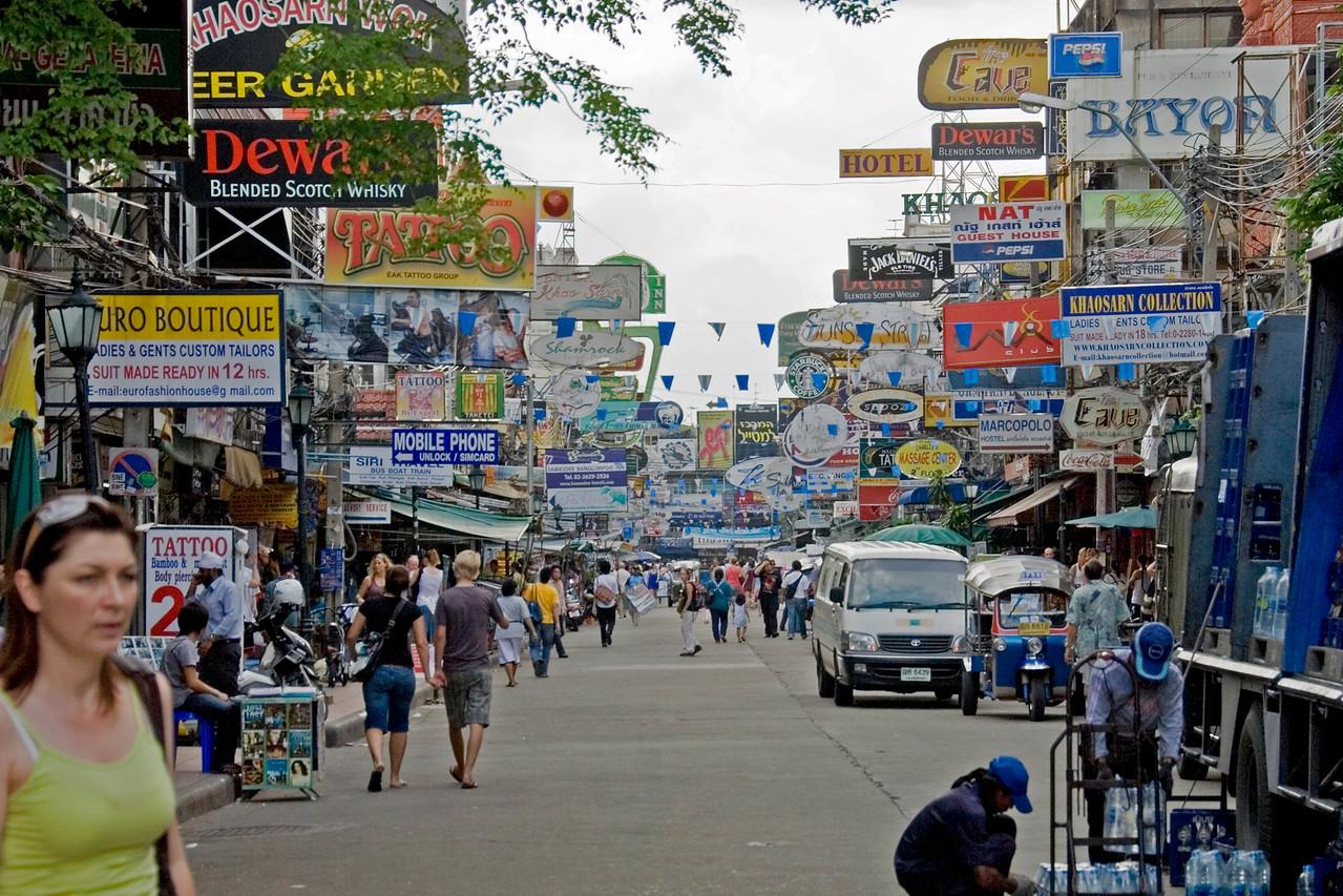 Busy street scene in Khao San Road in Bangkok, Thailand