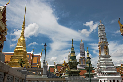 Stupas against clear sky in Wat Phra Kaew - Bangkok, Thailand