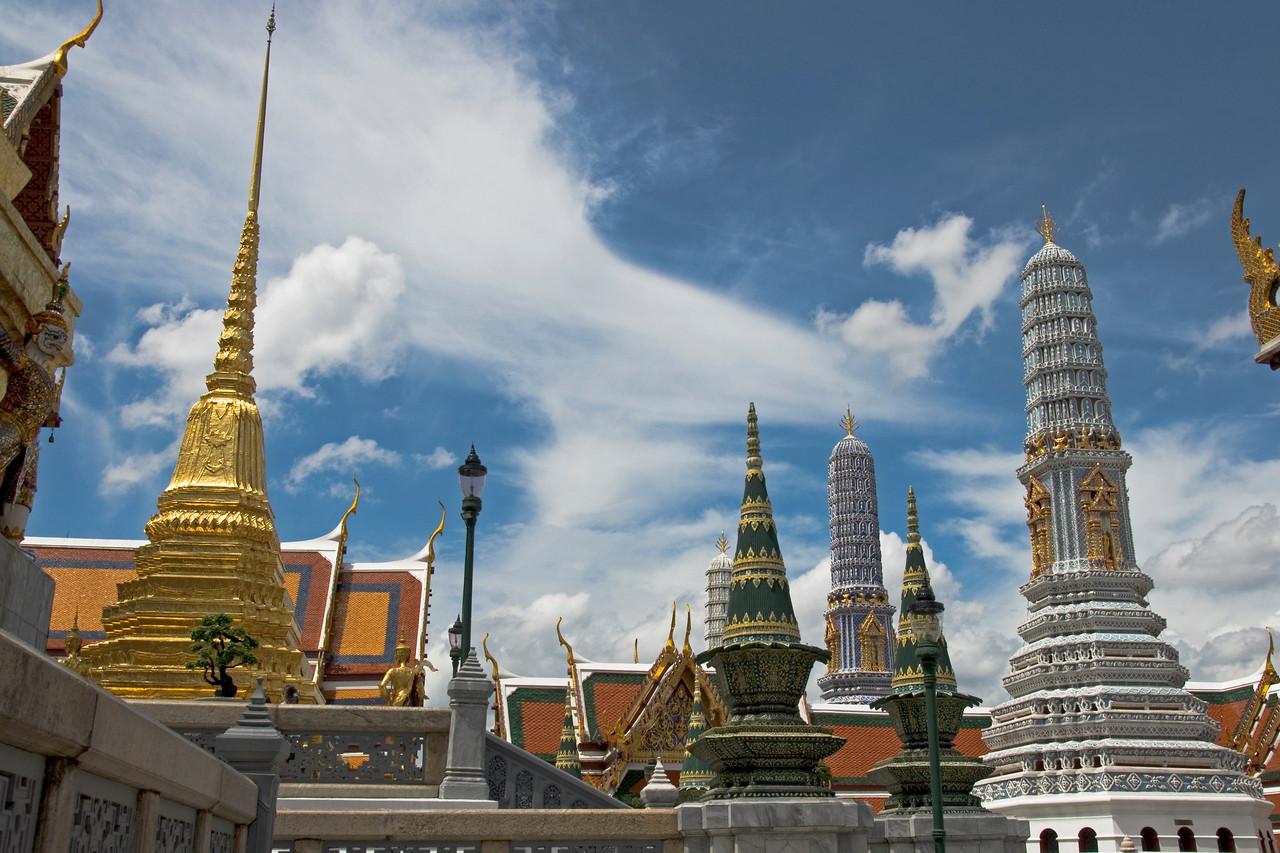 Stupas against clear sky in Wat Phra Kaew - Bangkok, Thailand