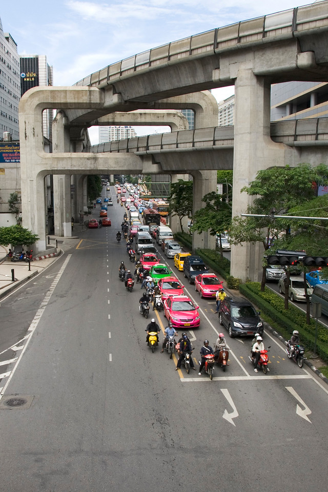 Overhead shot of traffic in a street in Bangkok, Thailand