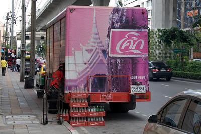 Colorful Thai Coke Truck spotted in Bangkok, Thailand