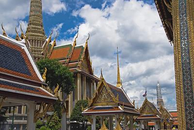 Elaborate Buddhist architecture in Wat Phra Kaew - Bangkok, Thailand