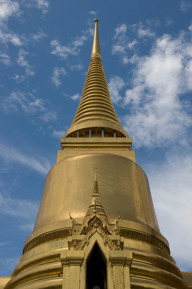 Looking up the stupa in Wat Phra Kaew - Bangkok, Thailand