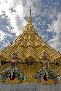 Looking up stupa at Wat Phra Kaew - Bangkok, Thailand