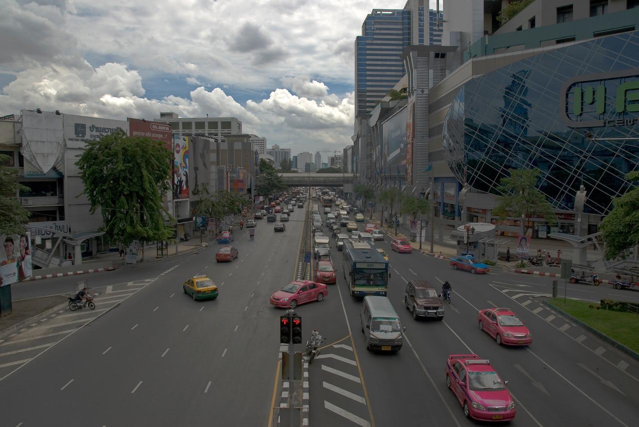 Wide shot of traffic scene in Bangkok, Thailand