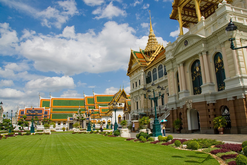 Beautifully landscape lawn at Thai Royal Palace complex - Bangkok, Thailand
