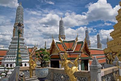 Rooftops and stupas inside Wat Phra Kaew - Bangkok, Thailand