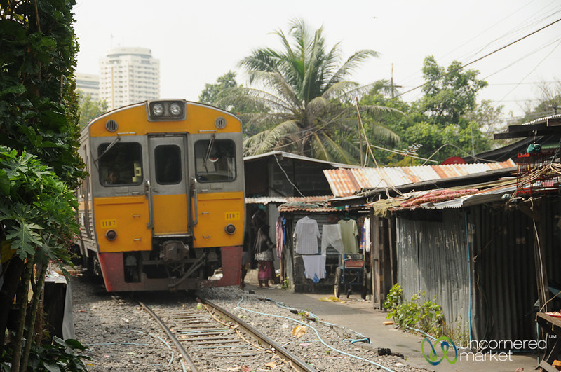 Train Coming Through the Community - Yommarat, Bangkok