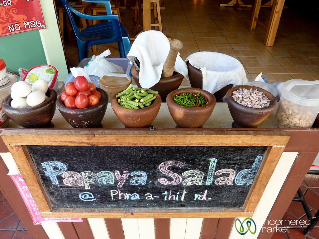 Papaya Salads on the Streets of Bangkok, Thailand