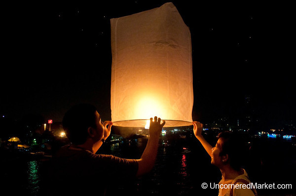 Paper Lanterns Released on Loi Krathong Festival in Bangkok, Thailand