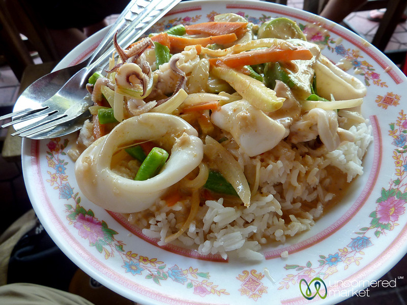 Lots of Fresh Squid in a Red Curry - Bangkok, Thailand