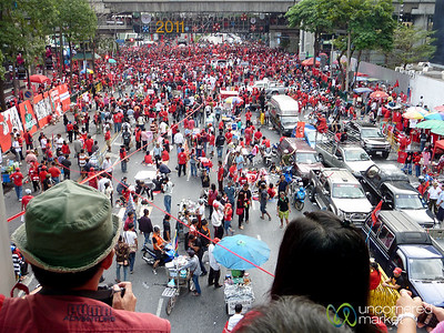 Looking Out Over the Red Shirts Protest - Bangkok, Thailand