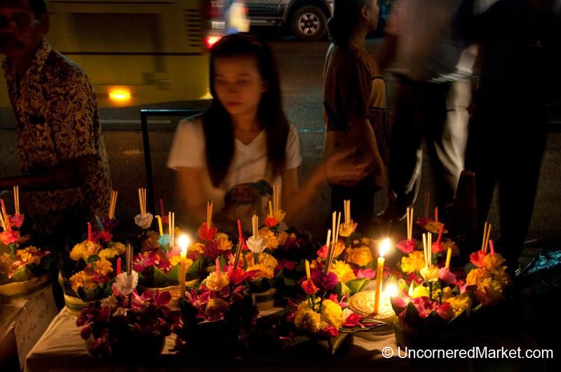Selling Krathongs on the Street - Loi Krathong Festival, Bangkok