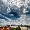 Magnificent view of Bangkok with a crazy dramatic sky captured from Wat Arun.