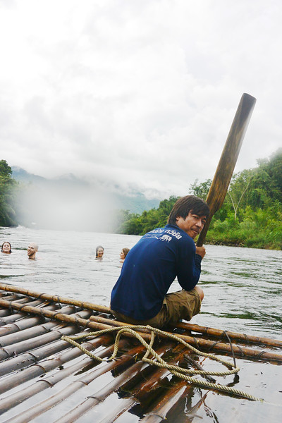 Rafting during Orientation week in Kanchanaburi. October 2014