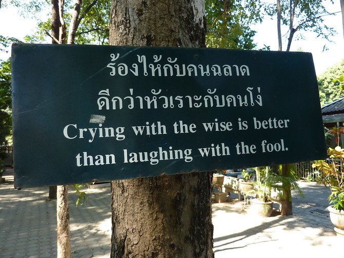 Crying with the wise is better than laughing with the fool