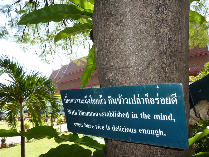 With Dhamma established in the mind, even bare rice is delicious enough