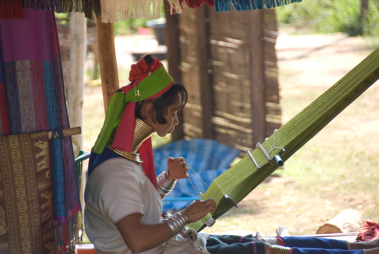 Side profile of a Kayan woman in Chiang Mai, Thailand