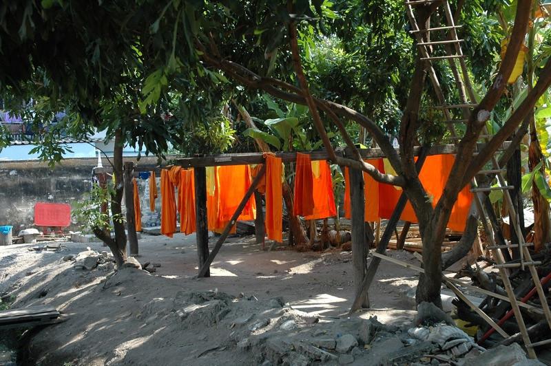 Monk Laundry, Saffron Robes - Chiang Mai, Thailand