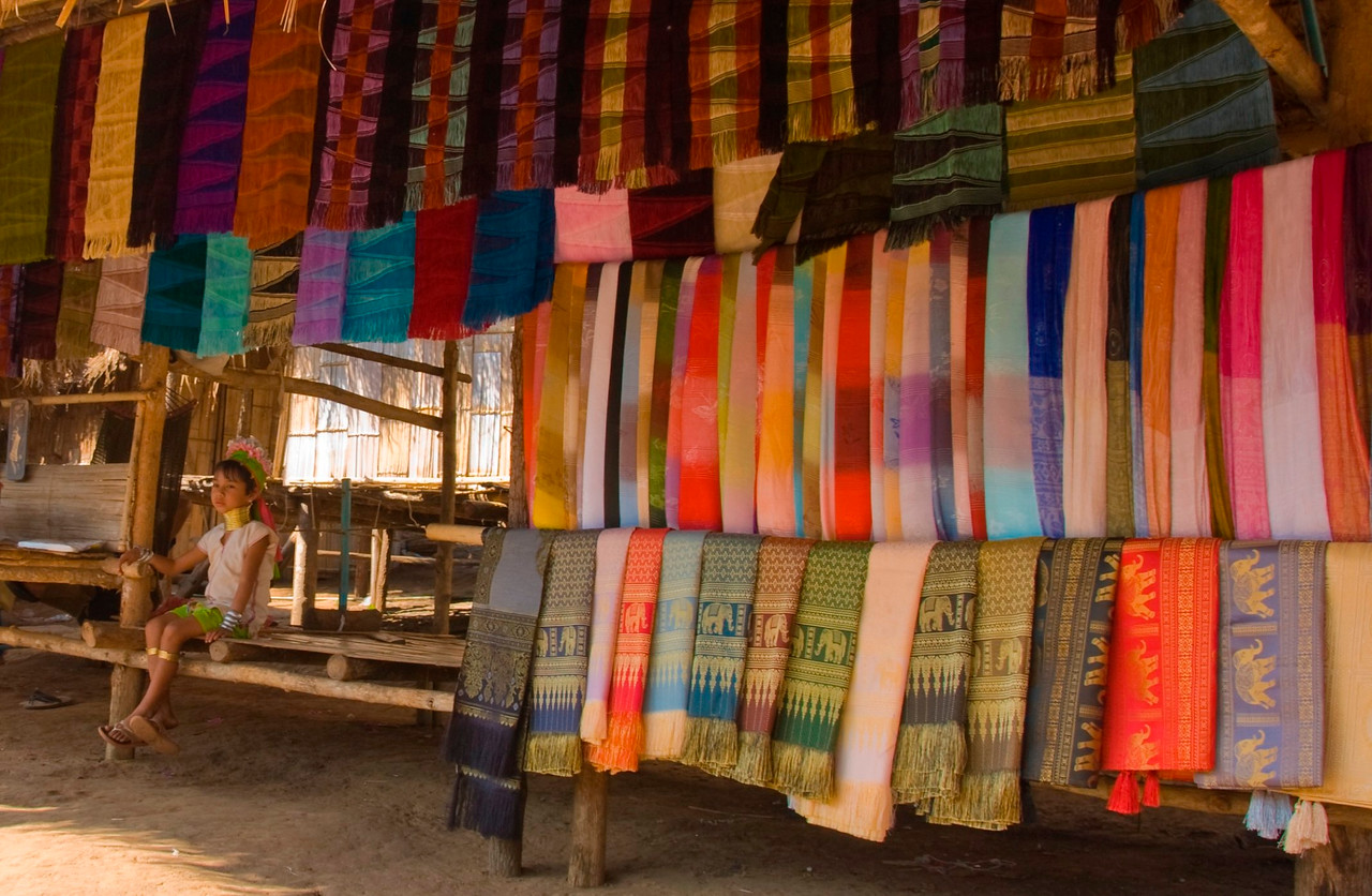Woven fabric on display at Chiang Mai, Thailand