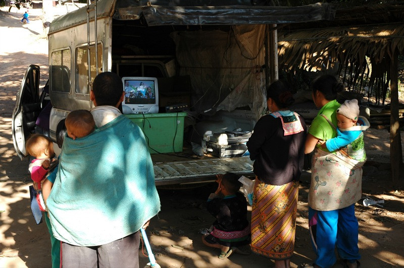People Watching Videos from a Truck - Chiang Mai, Thailand